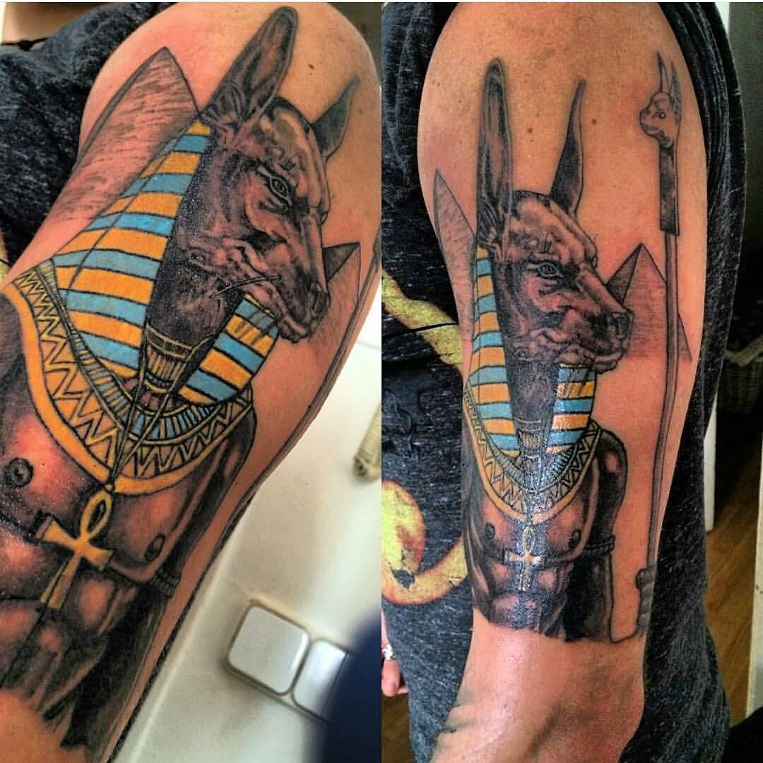 Egyptian dog tattoo