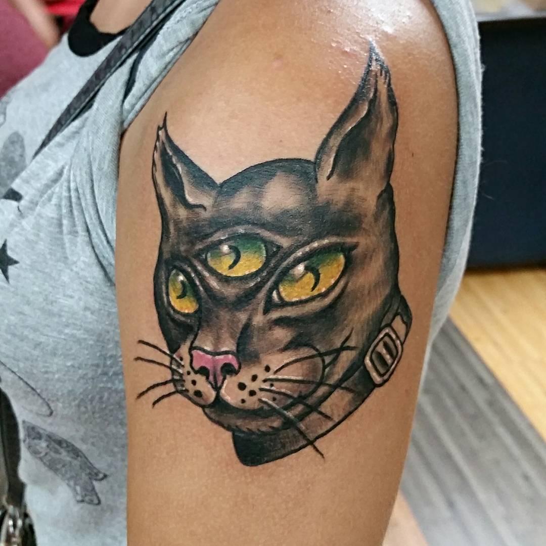Татуировка с кошкой фото