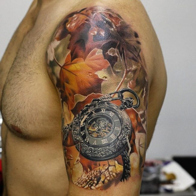 pocket watch tattoo11