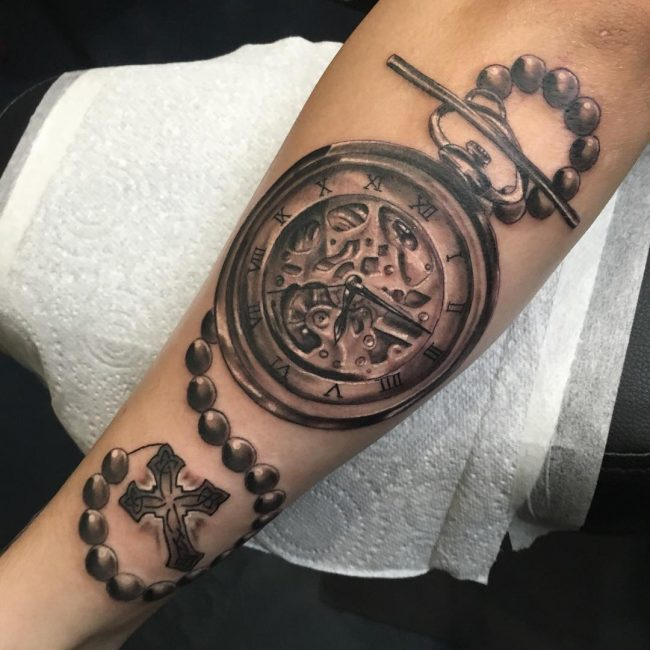 pocket watch tattoo12
