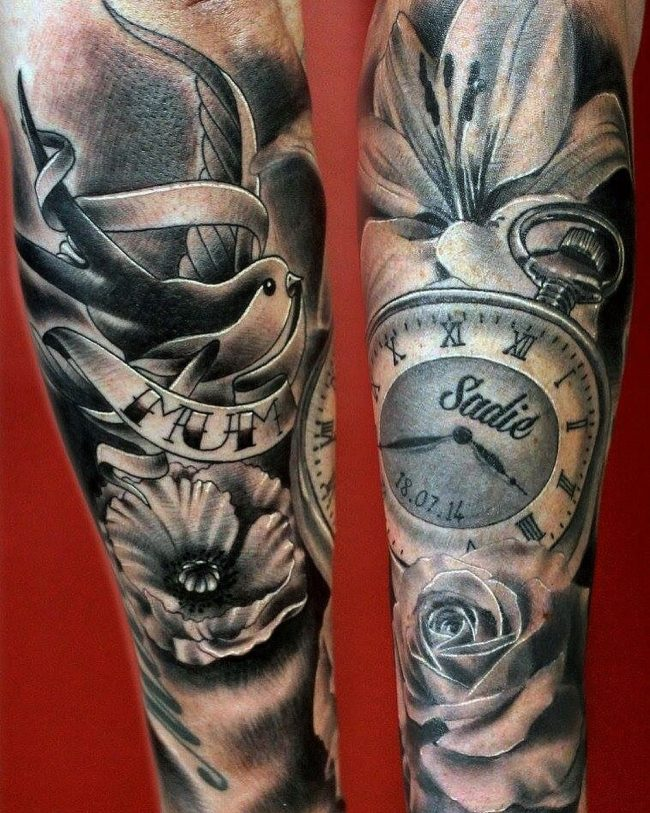 pocket watch tattoo14