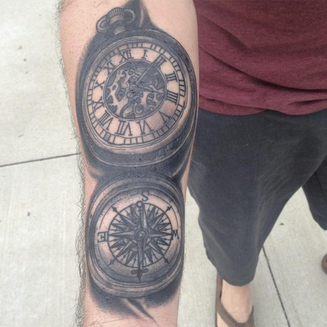 pocket watch tattoo21