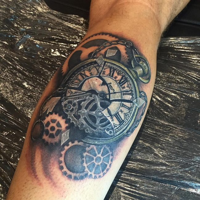pocket watch tattoo30