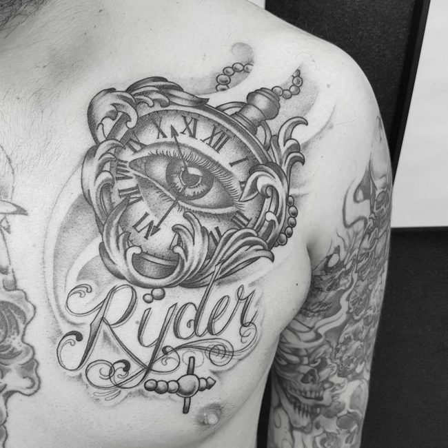 pocket watch tattoo32