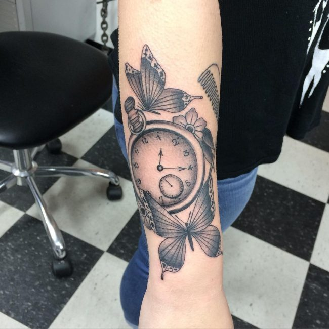 pocket watch tattoo35