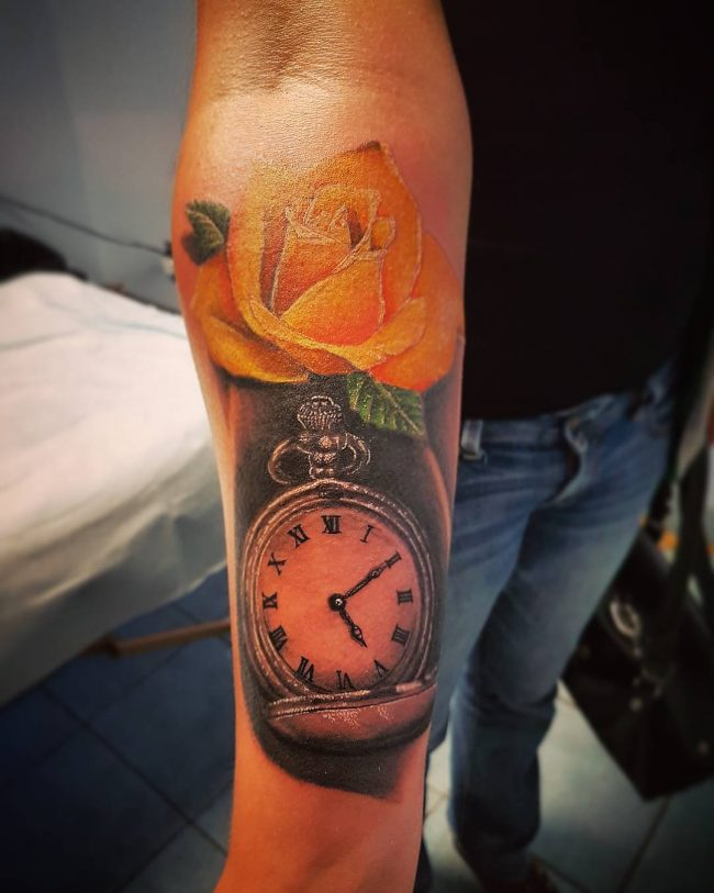 pocket watch tattoo38