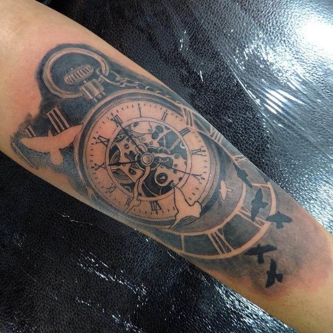 pocket watch tattoo39