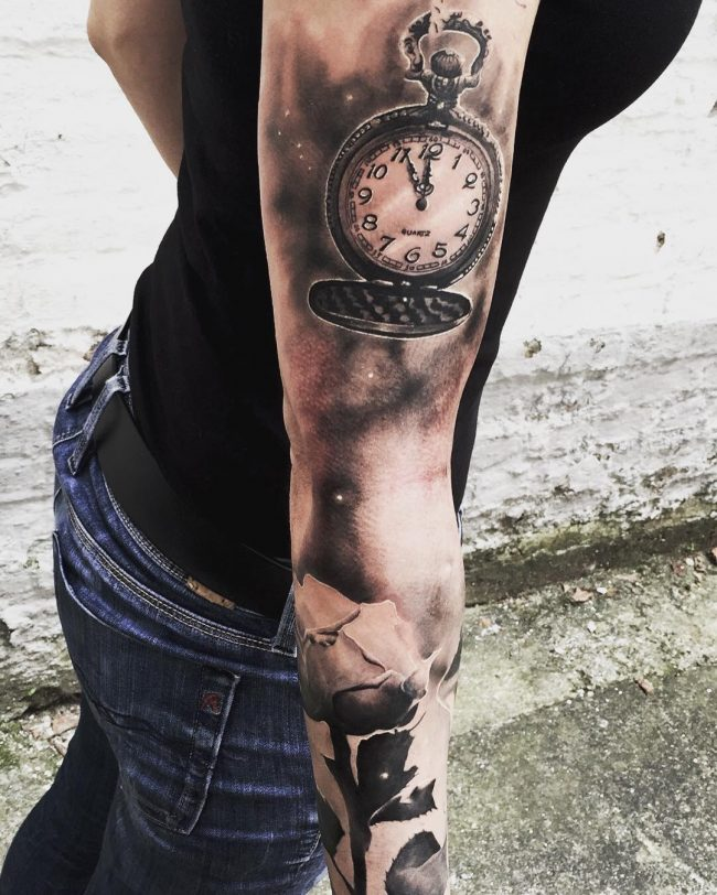 pocket watch tattoo40