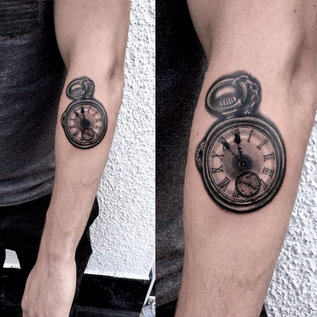 pocket watch tattoo42