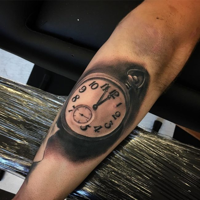 pocket watch tattoo43