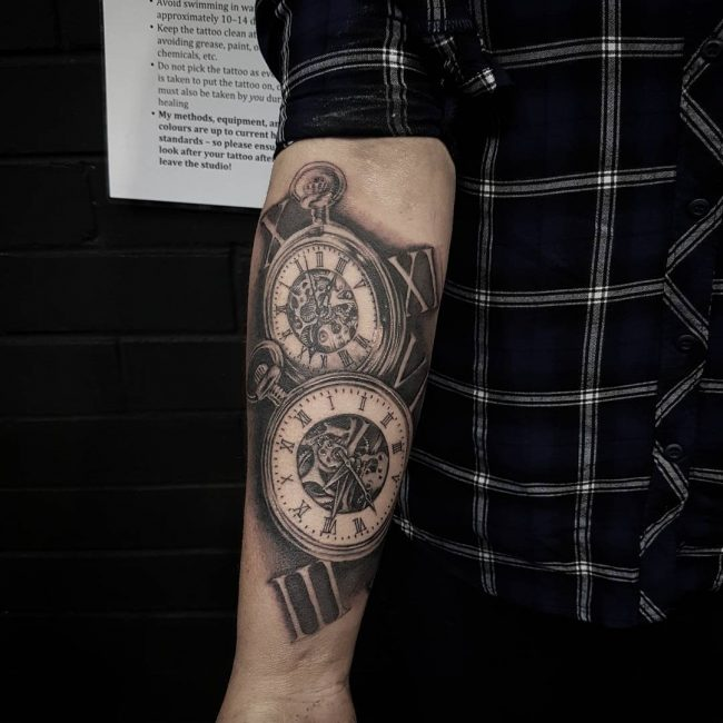 pocket watch tattoo50