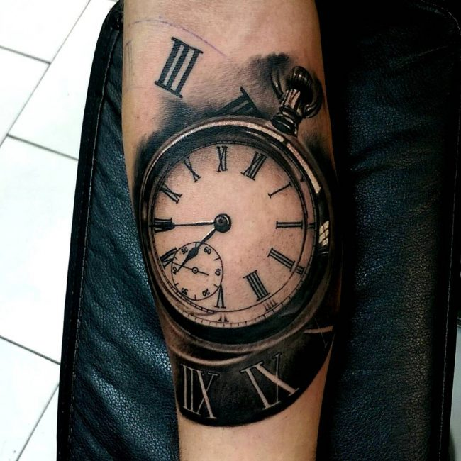 pocket watch tattoo52