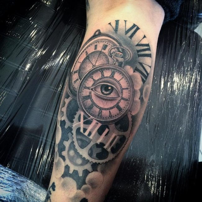 pocket watch tattoo68