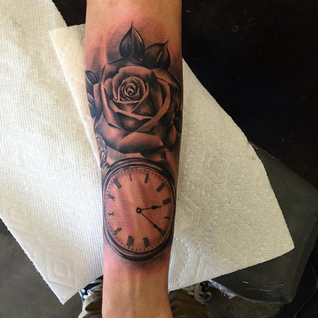 pocket watch tattoo7