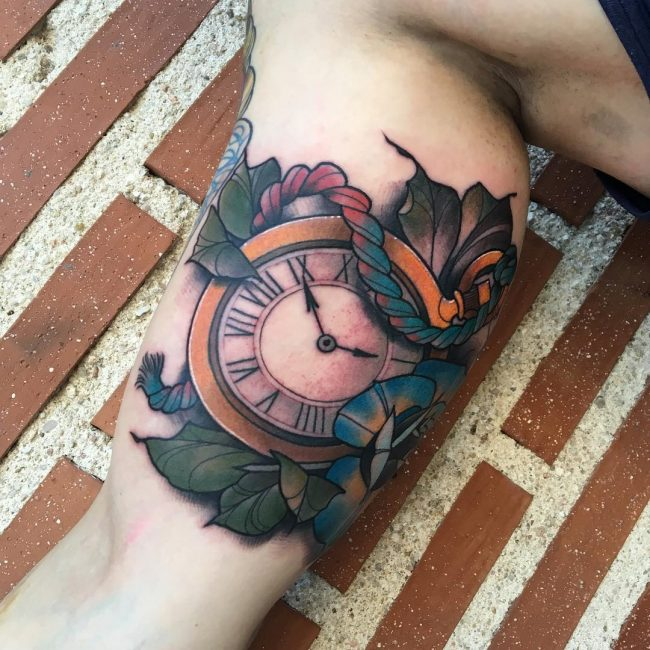 pocket watch tattoo72