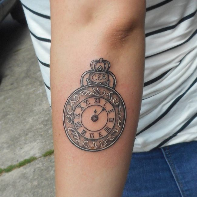 pocket watch tattoo76