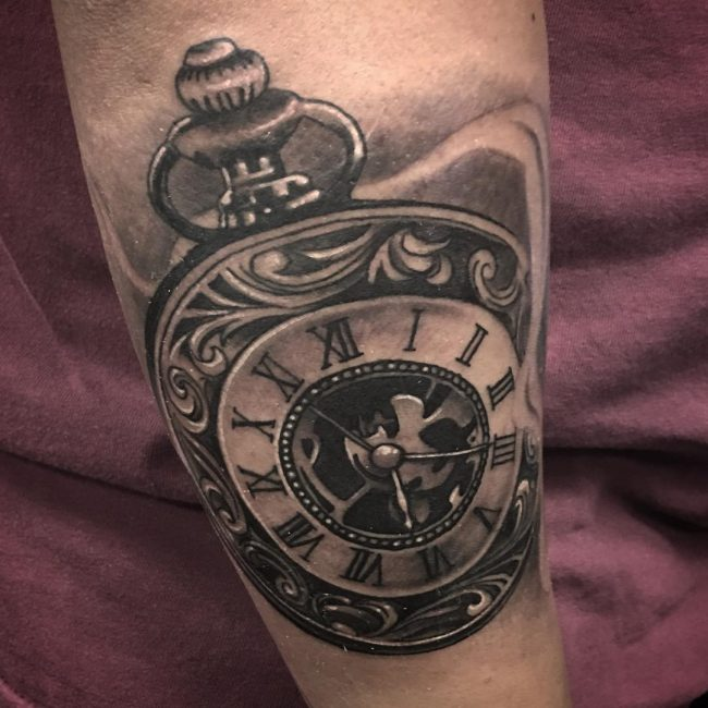 pocket watch tattoo77