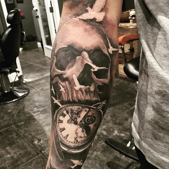 pocket watch tattoo80