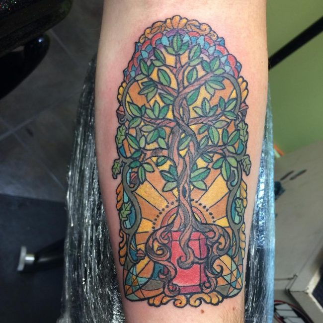 stained glass tattoo23