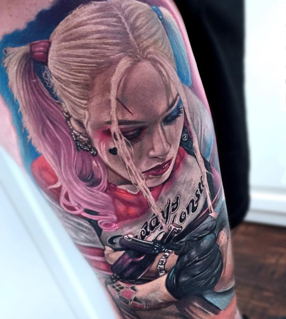 60 quirky harley quinn tattoo ideas bring out your for Suicide squad face tattoo
