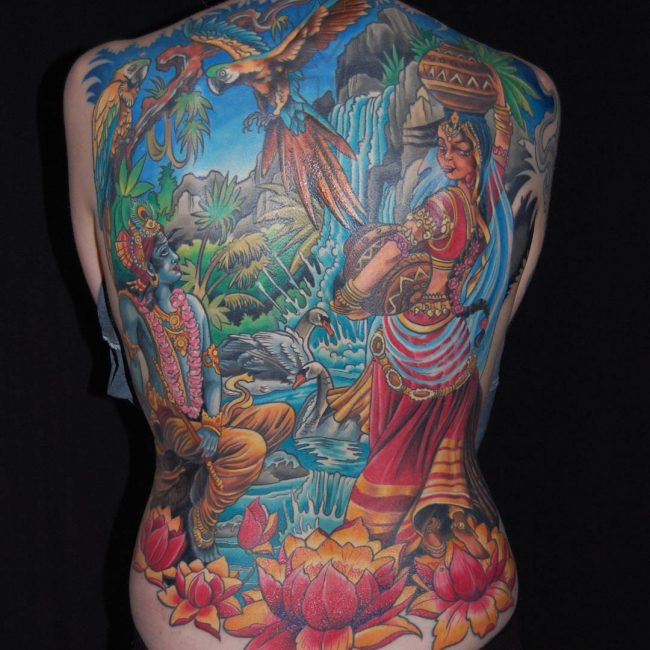 70 sacred hindu tattoo ideas designs packed with color and meaning. Black Bedroom Furniture Sets. Home Design Ideas