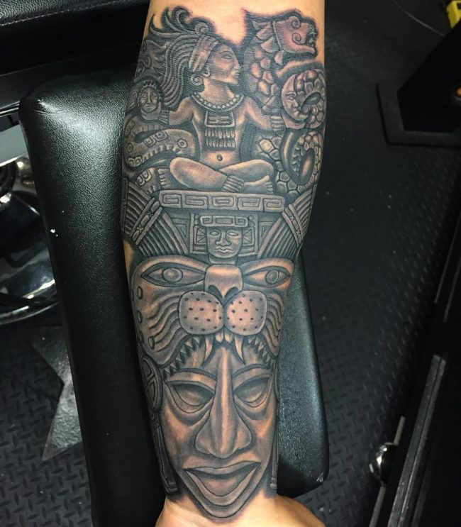 10 Ancient Mayan Tattoo Designs | Modern tattoos, Aztec ... |Mayan Tattoo Color