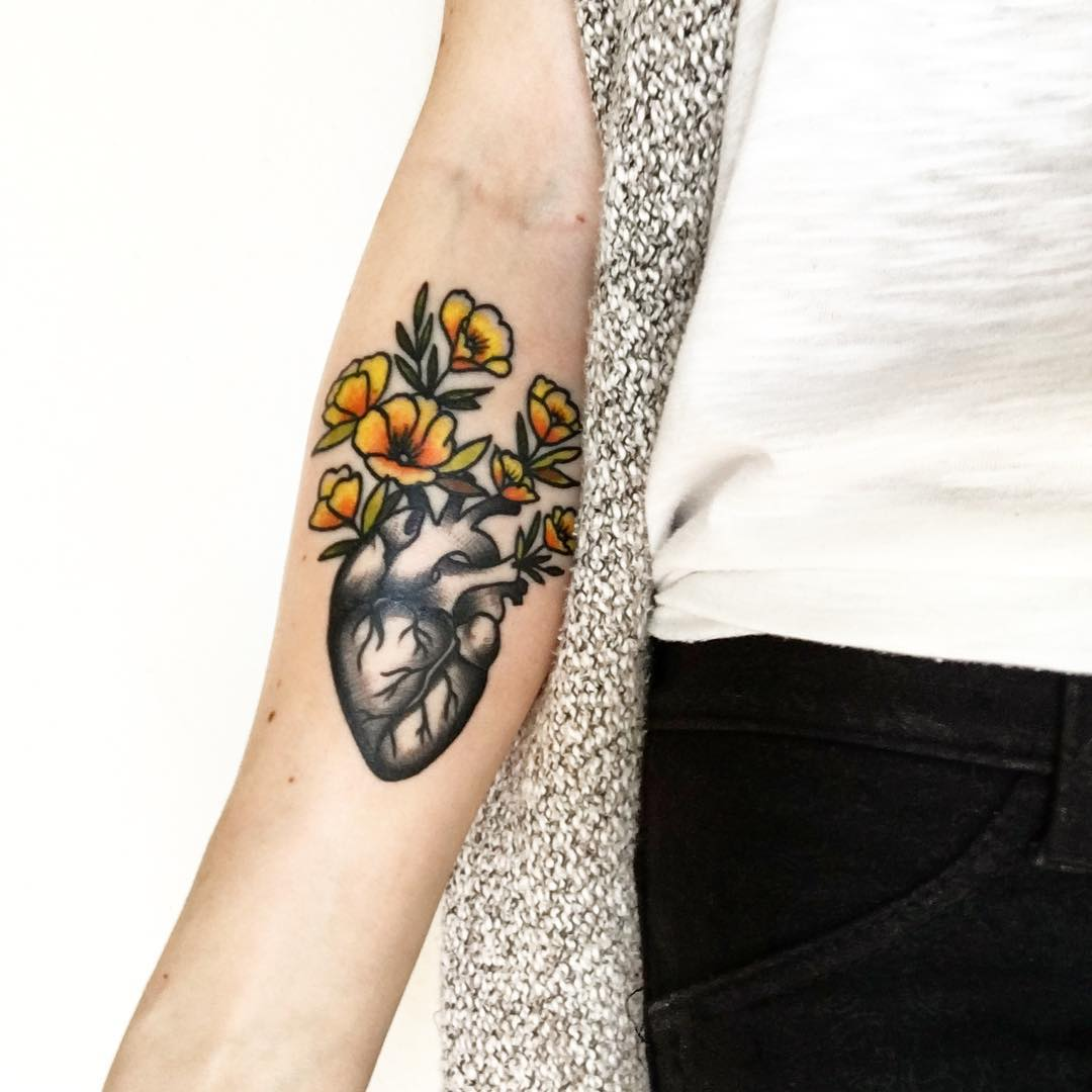 Heart Flower Tattoo Designs For Wrist: 110+ Best Anatomical Heart Tattoo Designs & Meanings