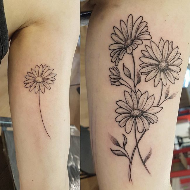 Daisy Flower Tattoo 75
