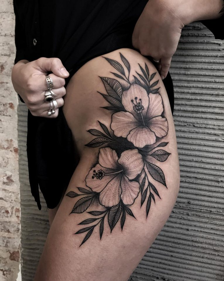 Hibiscus Flower Tattoo 67
