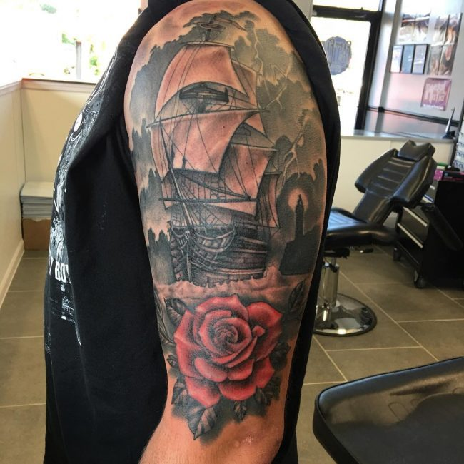 Pirate Ship Tattoo 78