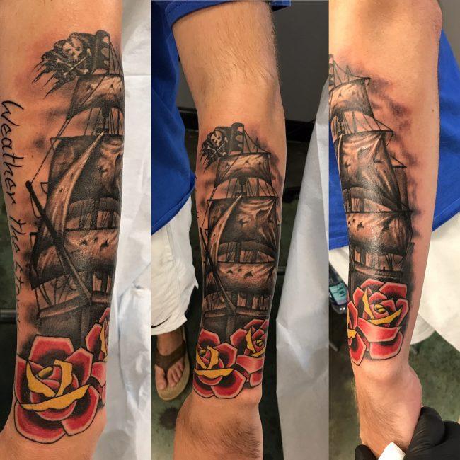 Pirate Ship Tattoo 79