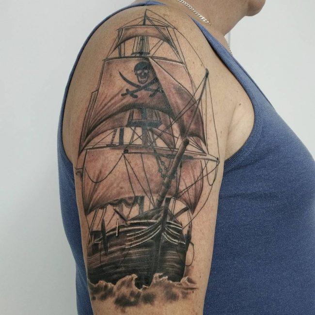 Pirate Ship Tattoo 81