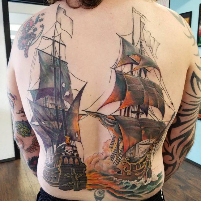 Pirate Ship Tattoo 82