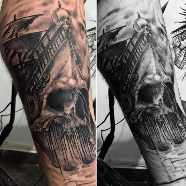 Pirate Ship Tattoo 85
