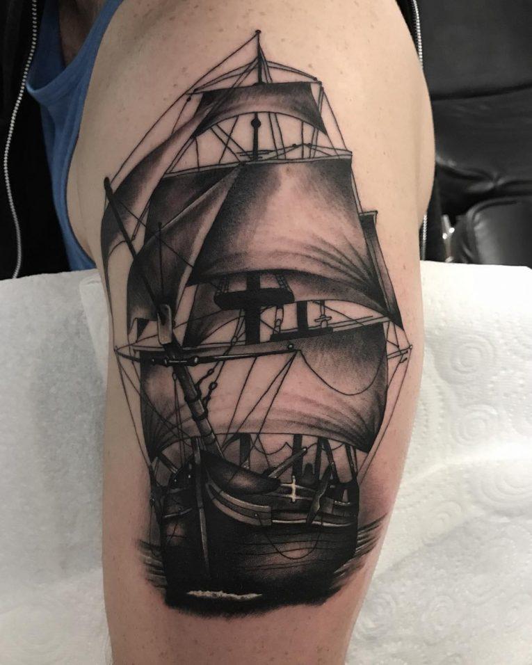 Pirate Ship Tattoo 88