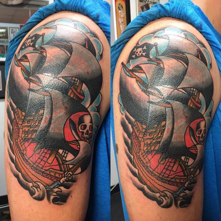 Pirate Ship Tattoo 89