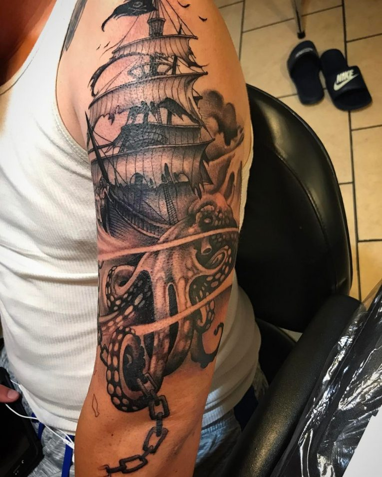 Pirate Ship Tattoo 92