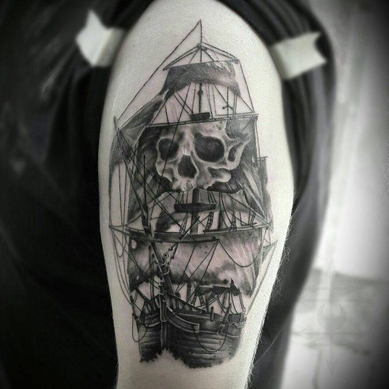 Pirate Ship Tattoo 95