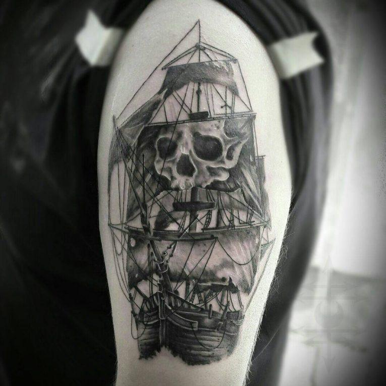 Pirate Ship Tattoo 95