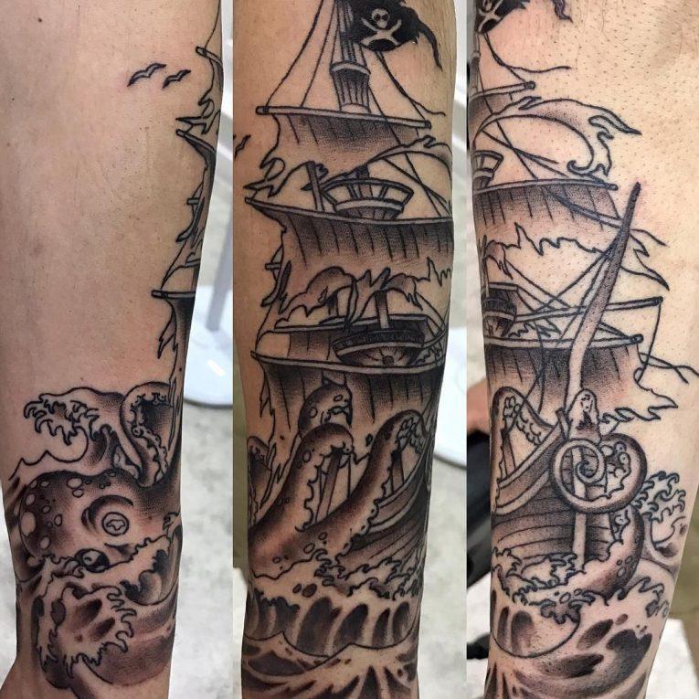 Pirate Ship Tattoo 97