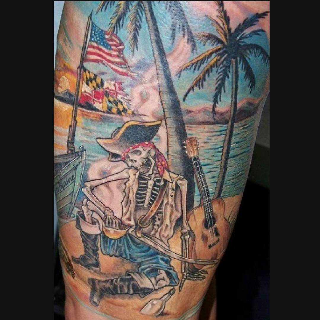 75 amazing masterful pirate tattoos designs meanings 2018. Black Bedroom Furniture Sets. Home Design Ideas