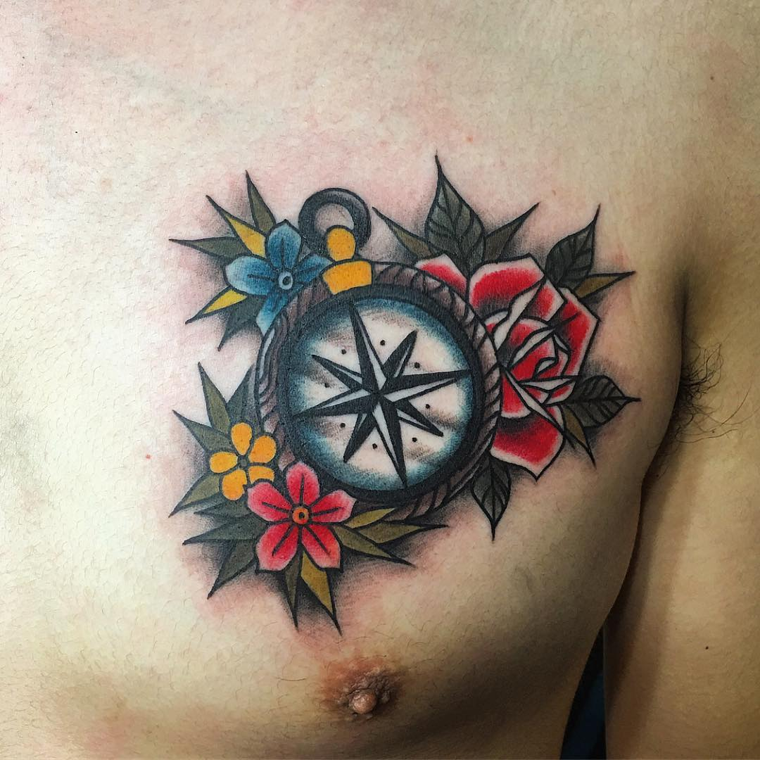 Tattoo Designs Colored: 75 Rose And Compass Tattoo Designs & Meanings