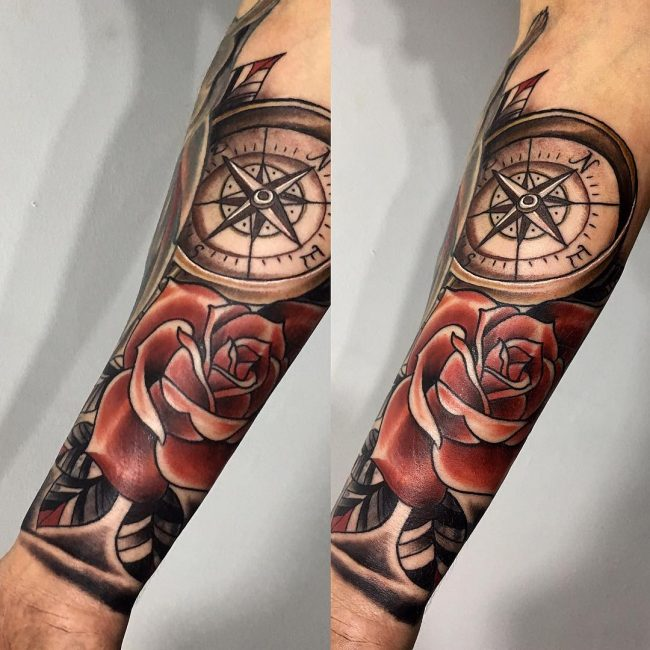 75 Rose and Compass Tattoo Designs & Meanings - Choose Yours(2018)