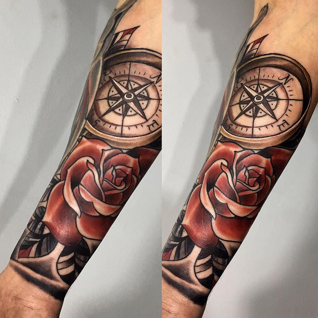75 Rose and Compass Tattoo Designs & Meanings - Choose ...