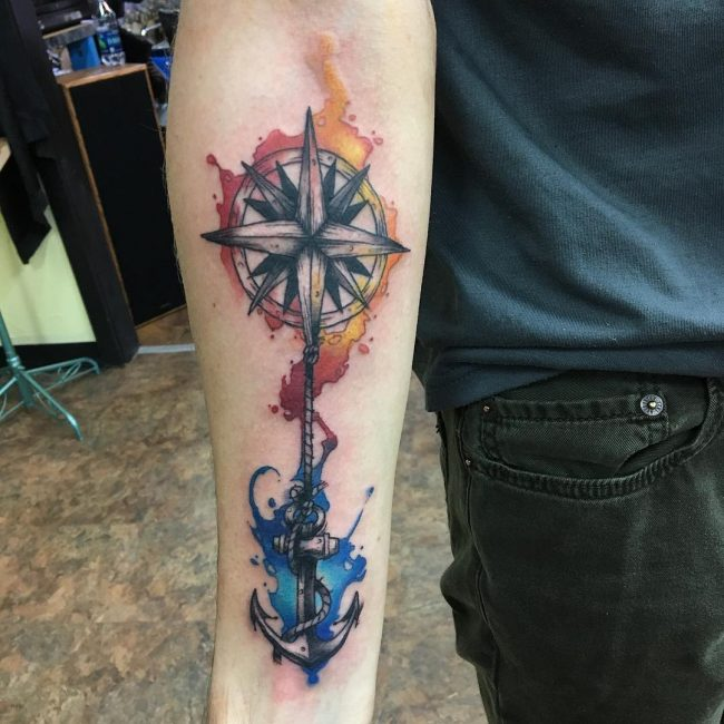 Rose and Compass Tattoo_
