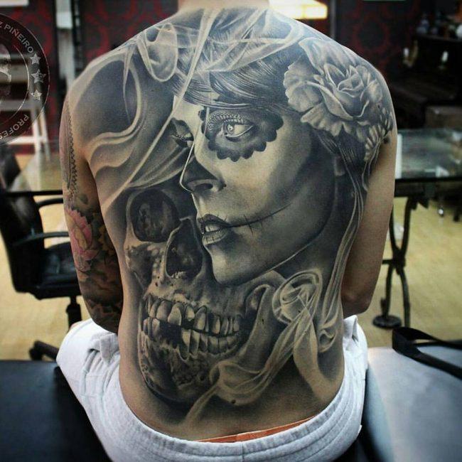 85 best sugar skull tattoo designs meanings 2018 for Skull neck tattoos