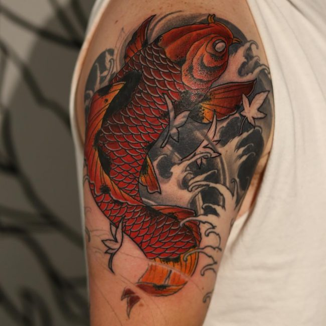 65 japanese koi fish tattoo designs meanings true for Black koi fish meaning