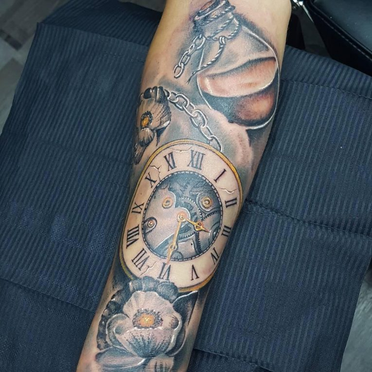 Pocket Watch Tattoo 122