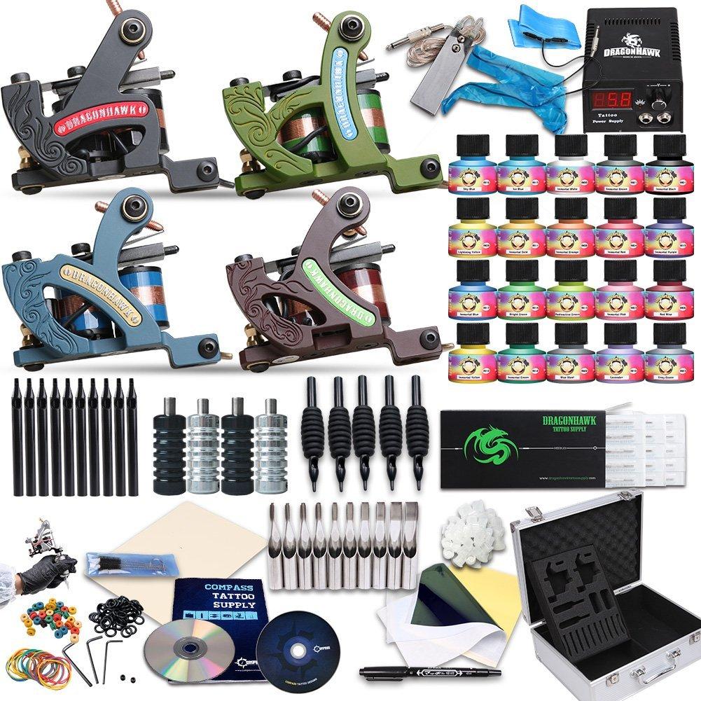 Dragonhawk Complete Tattoo Kit 4 Standard Tunings Tattoo Machine Guns Power Supply...