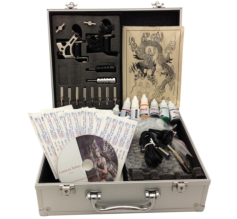 E-onsale Deluxe Tattoo Kit 2 Machine Gun Power Supply Needles 8 Inks(Double...